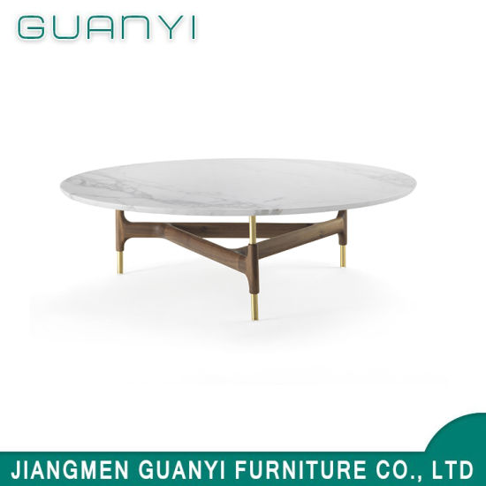 2019 Modern Wooden Furniture Marble Golden Coffee Table