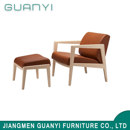 2018 Wooden Base PU Leather with Stool Living Hotel Armchair
